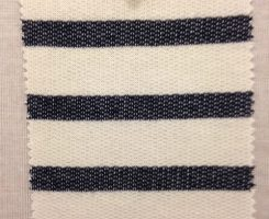 396 LB-CP-Ecru  Denim Effect Stripe Loopback ~Ecru/Denim