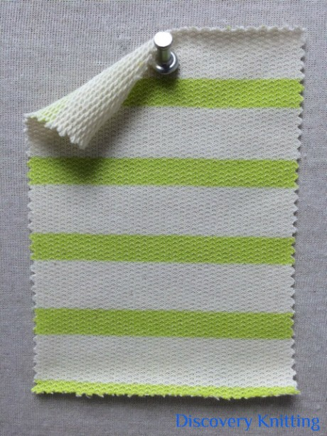 396 LB-CP-Kiwi Stripe Loopback Ecru/Kiwi