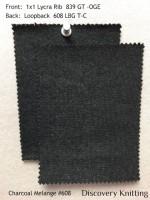 Charcoal Melange #608 Front: 1x1 Lycra Rib 839 GT-OGE-CM  Back: 608 LBT -G-C-CMB