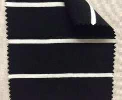 858 S-AVE-BlkNat  Jersey Stripe Visc Lycra BLACK /Natural