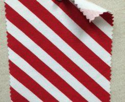 PR 533-OGE-RedW  Printed Organic Lycra Jersey  Red / White Diagonal Stripe