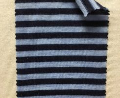 782 T S-W -Indg  Extrafine Merino Wool Stripe Jersey Distressed Indigo