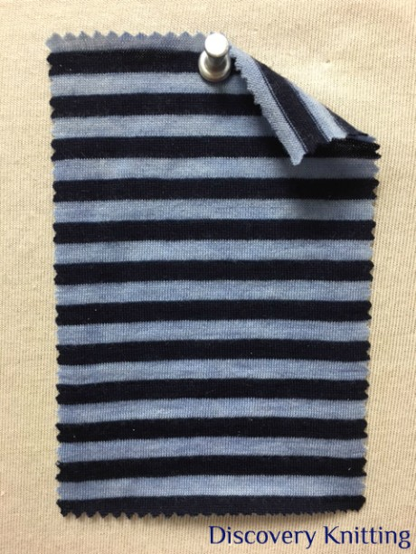 782 T S-W -Indg  Extrafine Merino Wool Stripe Jersey Distressed Indigo