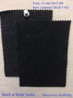 BLACK w SILVER LUREX Front: 1x1 Rib 724 T-VPX  Back: Loopback 720 LB T-VCX