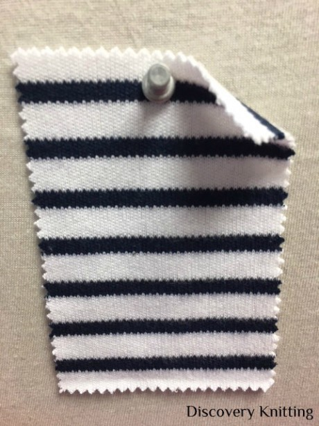 846 S-C  Combed Cotton Heavy Interlock Stripe OPTICAL WHITE / NAVY