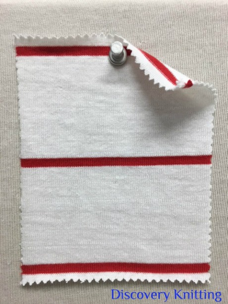 612 S-C -OPR  Combed Cotton STRIPE JERSEY Optic White / Red