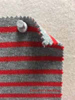 846 S-C  Stripe Heavy Interlock GREY MELANGE / RED